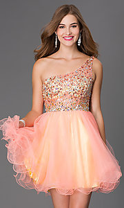 Short One Shoulder Beaded Elizabeth K Prom Dress