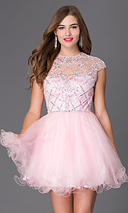 Short Elizabeth K Cap Sleeve Prom Dress