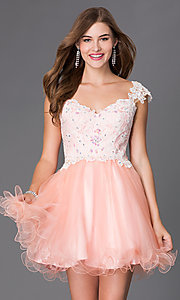 Short Elizabeth K Homecoming Dress With Lace Cap Sleeves