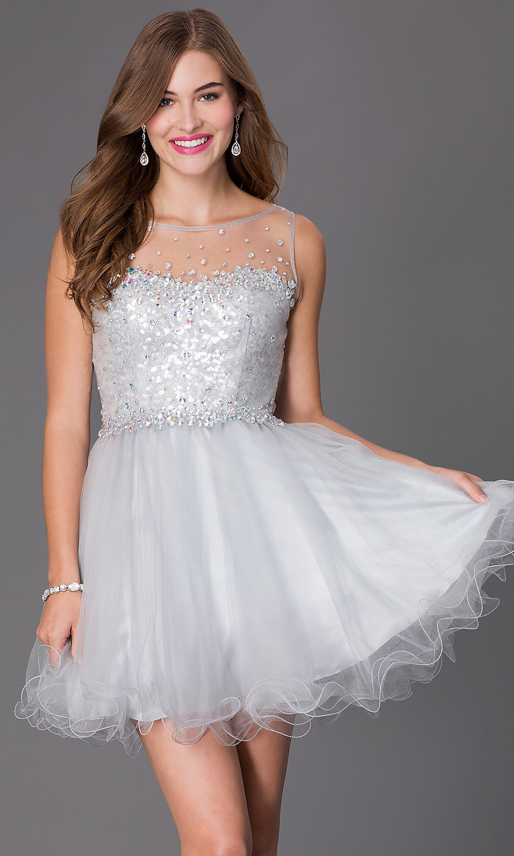 Sequin Bodice Babydoll Party Dress - PromGirl