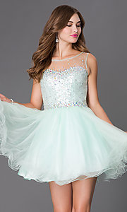 Homecoming Dress with Sheer Sequin Bodice by Elizabeth K