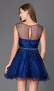 Image of sleeveless beaded short Elizabeth K homecoming dress.  Style: FB-GS2063 Back Image