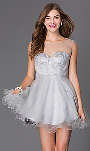 Image of sleeveless beaded short Elizabeth K homecoming dress.  Style: FB-GS2063 Detail Image 2