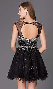 Image of open-back beaded homecoming dress with tulle skirt. Style: FB-GS2064 Back Image