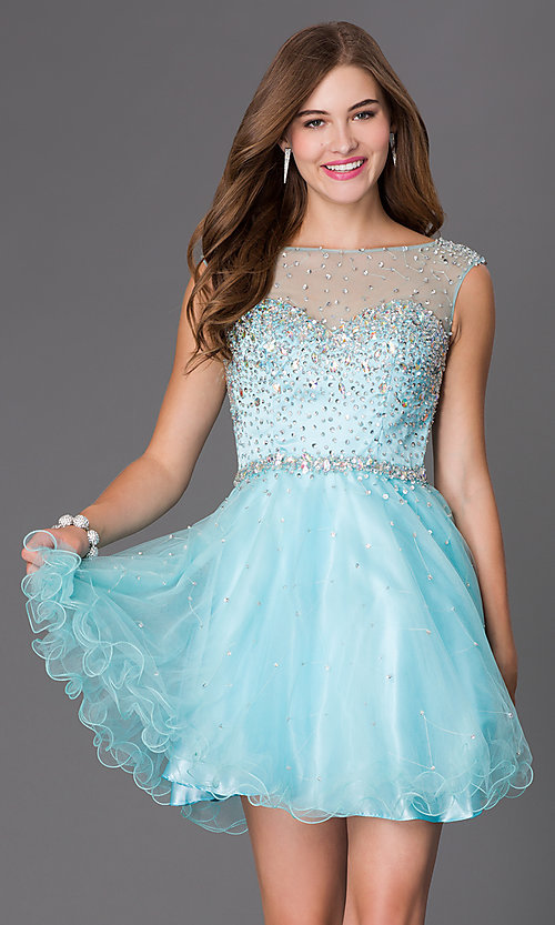 Image of open-back beaded homecoming dress with tulle skirt. Style: FB-GS2064 Detail Image 1