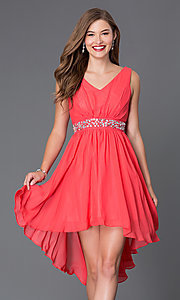 Image of sleeveless v-neck high-low dress Style: SF-8776 Front Image