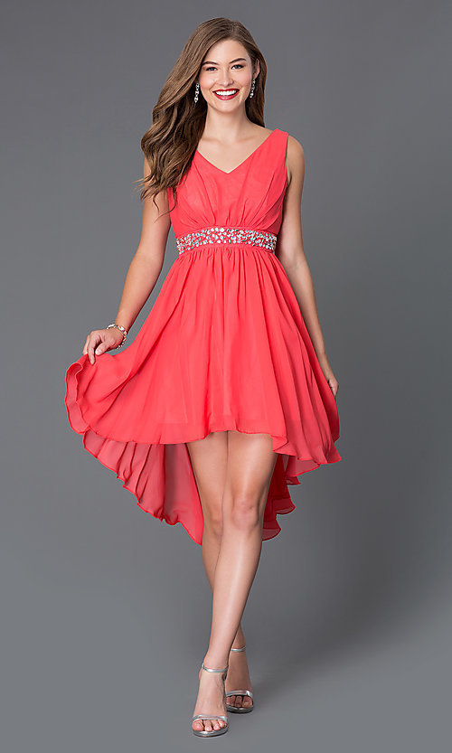 Image of sleeveless v-neck high-low dress Style: SF-8776 Detail Image 1
