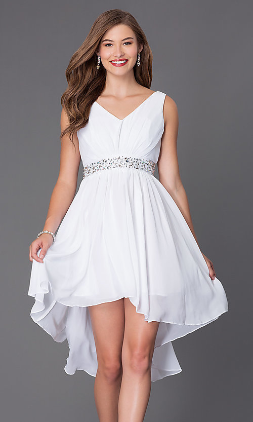 Image of sleeveless v-neck high-low dress Style: SF-8776 Detail Image 2