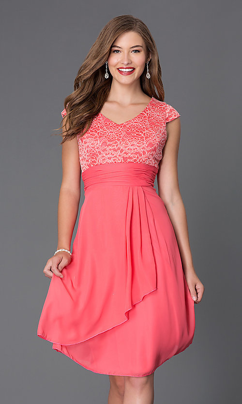 Image of knee-length lace-bodice cap-sleeve homecoming dress. Style: SF-8762 Front Image