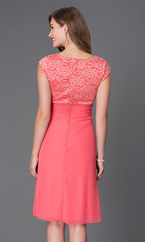 Image of knee-length lace-bodice cap-sleeve homecoming dress. Style: SF-8762 Back Image