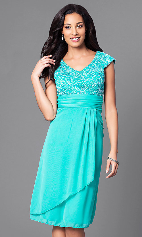 Image of knee-length lace-bodice cap-sleeve homecoming dress. Style: SF-8762 Detail Image 3