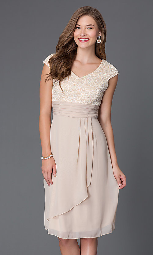 Image of knee-length lace-bodice cap-sleeve homecoming dress. Style: SF-8762 Detail Image 1