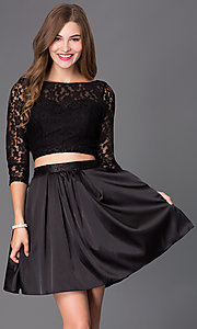 Short Two-Piece Homecoming Dress with Lace and Satin