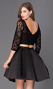 Image of short two-piece homecoming dress with lace and satin. Style: NA-6166 Back Image