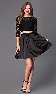 Image of short two-piece homecoming dress with lace and satin. Style: NA-6166 Detail Image 1