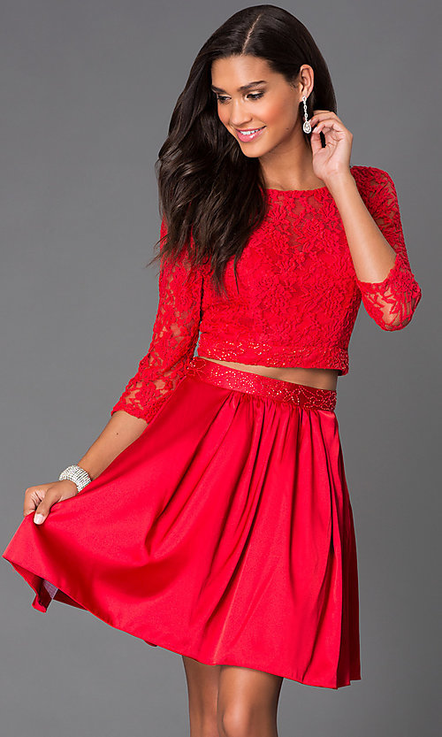 Image of short two-piece homecoming dress with lace and satin. Style: NA-6166 Detail Image 2