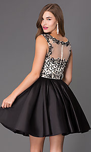 Image of sleeveless party dress with bead embellishments. Style: NA-6059 Back Image