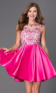 Image of sleeveless party dress with bead embellishments. Style: NA-6059 Front Image
