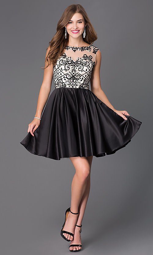 Image of sleeveless party dress with bead embellishments. Style: NA-6059 Detail Image 1