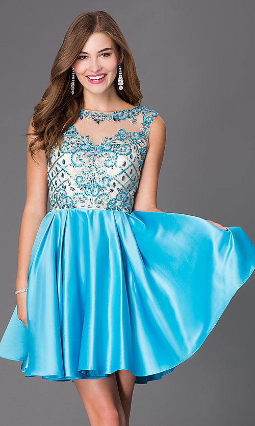 Image of sleeveless party dress with bead embellishments. Style: NA-6059 Detail Image 2