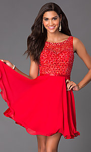 Image of short sleeveless sequin embellished illusion sweetheart a-line dress Style: NA-6163 Detail Image 3