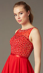 Image of short sleeveless sequin embellished illusion sweetheart a-line dress Style: NA-6163 Detail Image 1