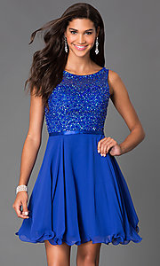 Image of short sleeveless sequin embellished illusion sweetheart a-line dress Style: NA-6163 Front Image