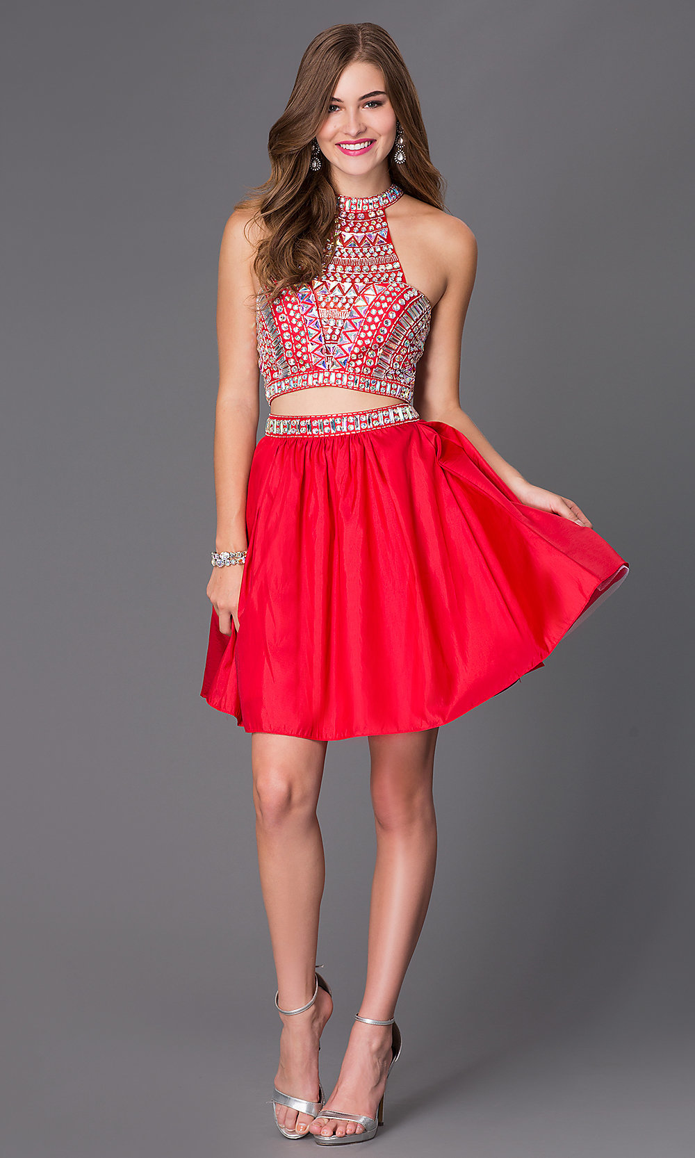 Short Two Piece Jeweled Party Dress Promgirl