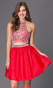 Image of two-piece short jeweled party dress 6053. Style: NA-6053 Front Image