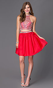 Image of two-piece short jeweled party dress 6053. Style: NA-6053 Detail Image 1
