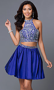 Image of two-piece short jeweled party dress 6053. Style: NA-6053 Detail Image 3