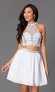 Image of two-piece short jeweled party dress 6053. Style: NA-6053 Detail Image 2