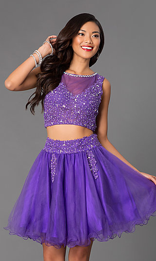 Two-Piece Short A-Line Baby Doll Junior Prom Dress