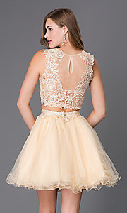 Image of short sleeveless two-piece lace-top homecoming dress. Style: NA-6057 Back Image