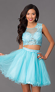 Image of short sleeveless two-piece lace-top homecoming dress. Style: NA-6057 Front Image