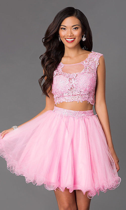 Image of short sleeveless two-piece lace-top homecoming dress. Style: NA-6057 Detail Image 3