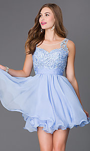 Image of short sleeveless sheer lace bodice chiffon skirt dress Style: NA-6049 Detail Image 1