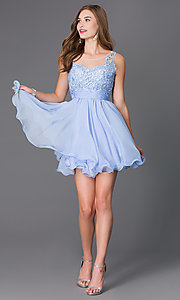 Image of short sleeveless sheer lace bodice chiffon skirt dress Style: NA-6049 Detail Image 2