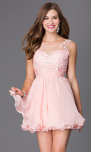 Short Sleeveless Party Dress with Lace Bodice