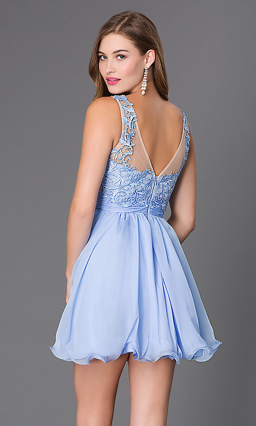 Image of short sleeveless sheer lace bodice chiffon skirt dress Style: NA-6049 Back Image