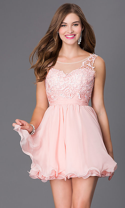 Image of short sleeveless sheer lace bodice chiffon skirt dress Style: NA-6049 Front Image