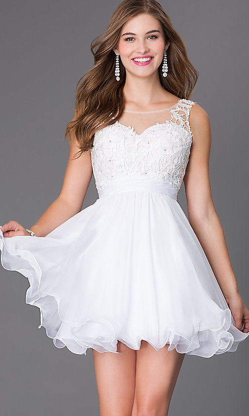 Image of short sleeveless sheer lace bodice chiffon skirt dress Style: NA-6049 Detail Image 3