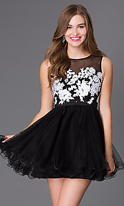 Short Sleeveless Dress with Illusion Bodice