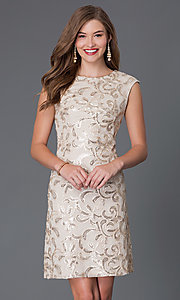 Short Cap-Sleeve Wedding-Guest Dress with Sequins