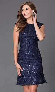 Image of short cap-sleeve wedding-guest dress with sequins. Style: SF-8803 Detail Image 1