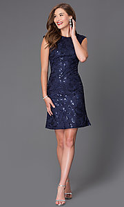 Image of short cap-sleeve wedding-guest dress with sequins. Style: SF-8803 Detail Image 2