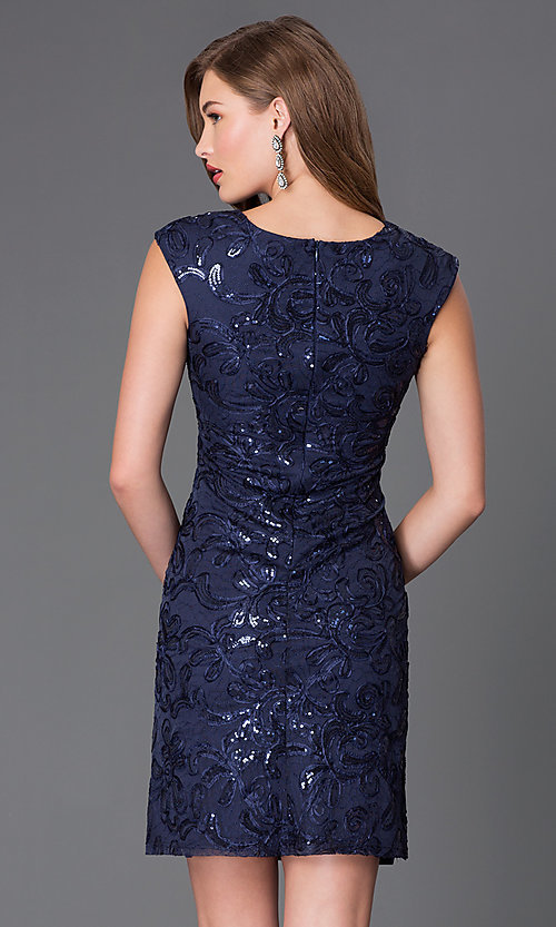 Image of short cap-sleeve wedding-guest dress with sequins. Style: SF-8803 Back Image