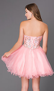 Image of short strapless corset babydoll homecoming dress. Style: JT-751 Back Image