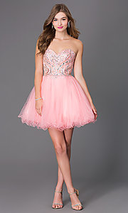 Image of short strapless corset babydoll homecoming dress. Style: JT-751 Detail Image 2