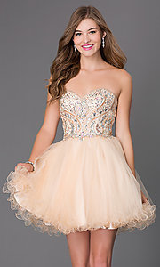 Short Strapless Corset Babydoll Homecoming Dress